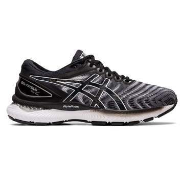 Asics Gel Nimbus 22 2E Width Mens Running Shoes (White-Black)