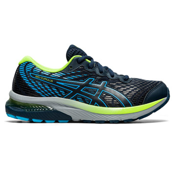 Asics Gel Cumulus 22 GS Junior Running Shoes (French Blue/Hazard Green)