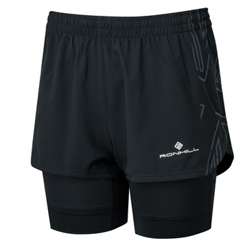 Ronhill Tech Womens Marathon Twin Shorts (All Black)