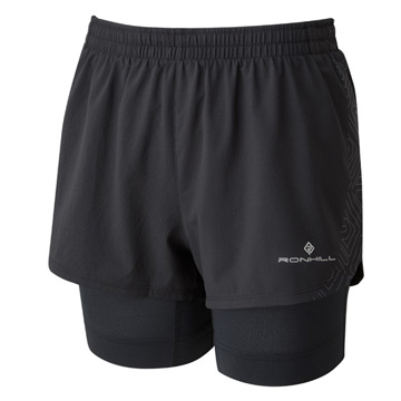 Ronhill Infinity Marathon Womens Twin Shorts (Black)