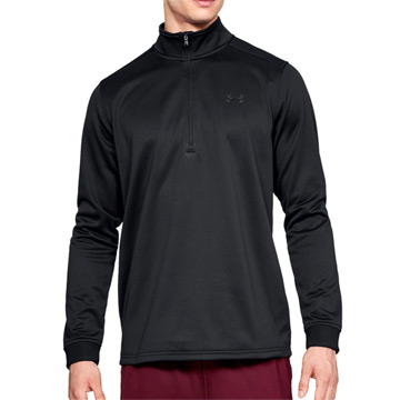 Under Armour Fleece 1/2 Zip Mens Top (Black-Black)