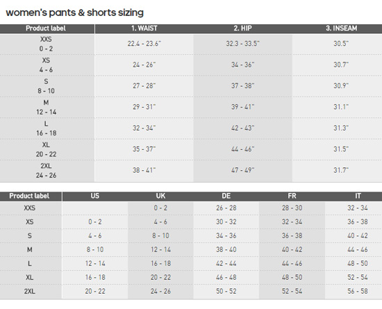adidas Womens Shorts Sizing